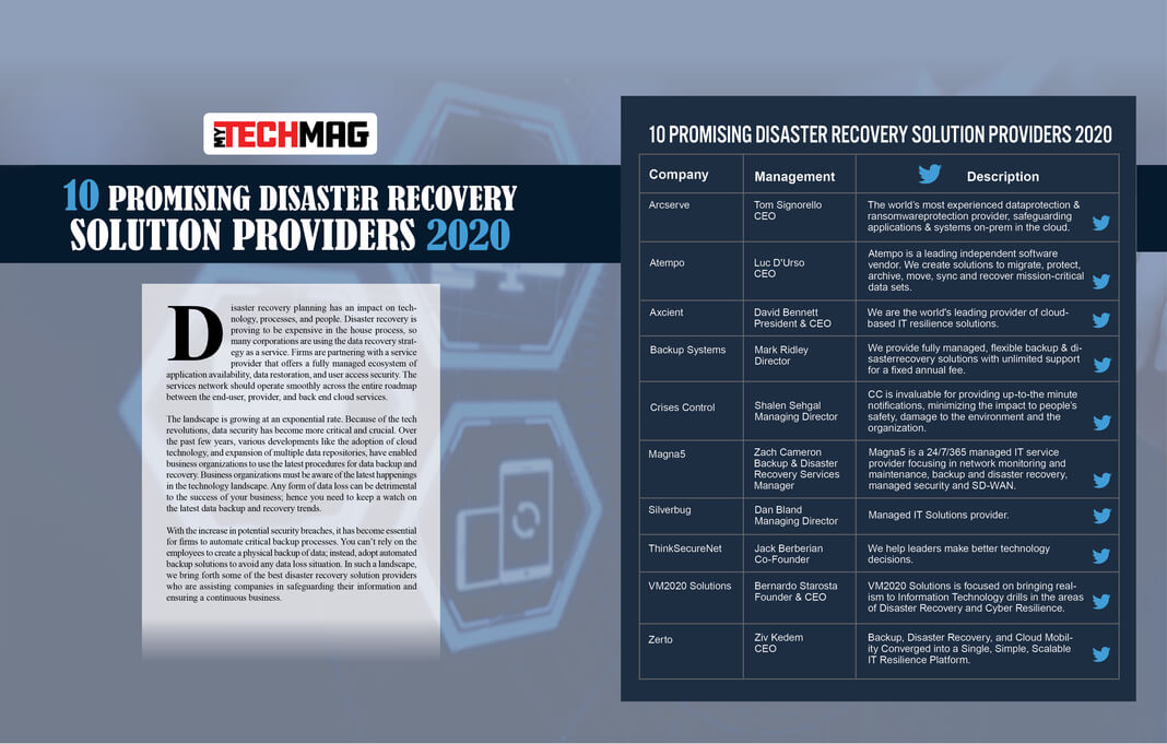 10 Promising Disaster Recovery Solution Providers 2020